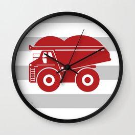 Red Dump Truck on Gray Stripes Wall Clock