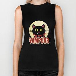 Funny Cat Shirt Vampurr Biker Tank