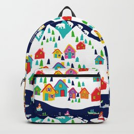 Scandinavian Rainbow Village and Fishing boats in the Fjord Backpack
