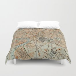 Vintage Map of Rome Italy (1911) Duvet Cover