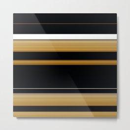 Rich Gold Black Striped Pattern Metal Print