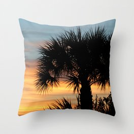 Sago Palm Tree Florida Sunrise Throw Pillow