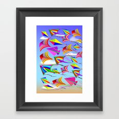 Kites Rainbow Colors in the Wind Framed Art Print