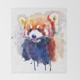 Red Panda Portrait Throw Blanket