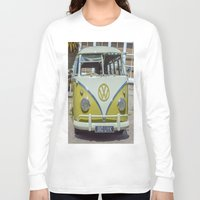 lime green Long Sleeve T-shirts featuring Lime Green Camper Van Front by Cornish Creations