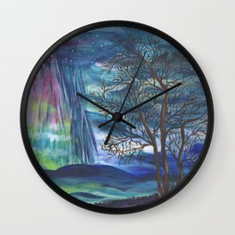 Starry Sky with Aurora Borealis Wall Clock