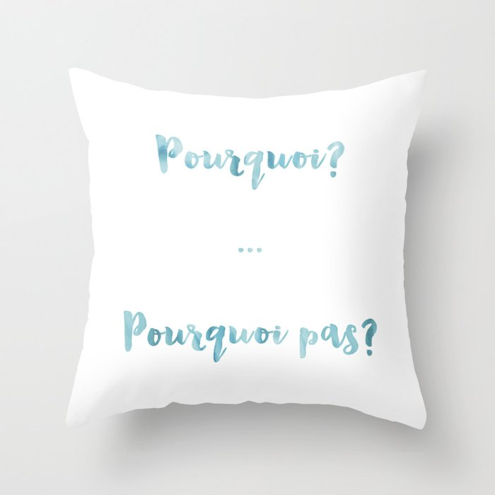 WhyWhy Not Pourquoi Pourquoi Pas Blue French Quote Words Extraordinary French Pillows Home Decor