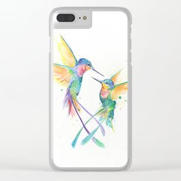 Hopeful Hummingbirds Clear iPhone Case