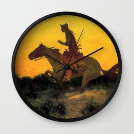 """Frederic Remington Western Art """"Against the Sunset"""" Wall Clock"""