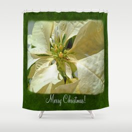 Pale Yellow Poinsettia 1 Merry Christmas P1F1 Shower Curtain