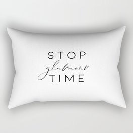 Stop Glamour Time, Make Up Print, Vanity Wall Art, Fashion Quote Rectangular Pillow