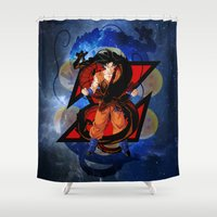goku Shower Curtains featuring DBZ - Goku by Mr. Stonebanks