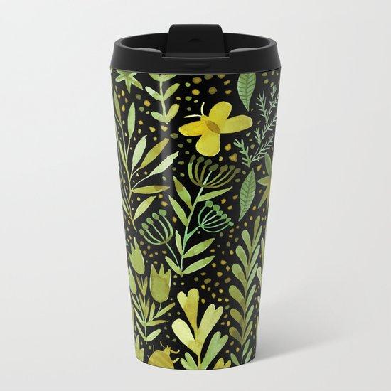 Green watercolor flowers Metal Travel Mug