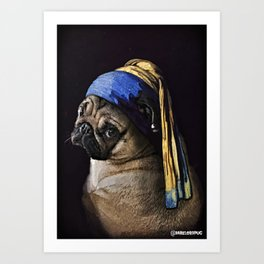 Pug with a Pearl Earring Art Print