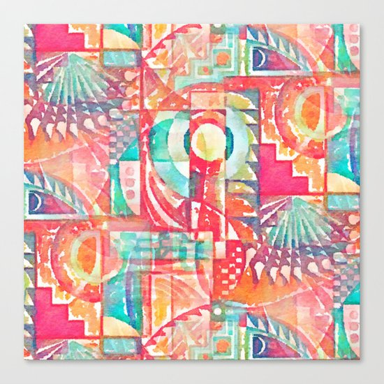 Sunshine Geometry in Watercolor Canvas Print