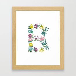 Floral B Monogram Framed Art Print
