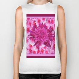 Oriental Style Purple & Pink Chrysanthemums Floral Garden Biker Tank