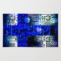 finland Area & Throw Rugs featuring circuit board Finland by seb mcnulty