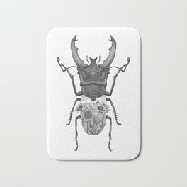 Stag Beetle with Mountain Scene Bath Mat