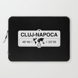 Cluj-Napoca Cluj County with World Map GPS Coordinates Laptop Sleeve