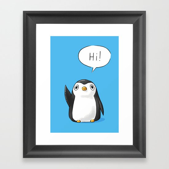 Hi Penguin Framed Art Print