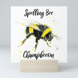Spelling Bee Champbeeon - Punny Bee Mini Art Print