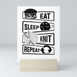 Eat Sleep Knit Repeat - Knitting Wool Needle Hobby Mini Art Print