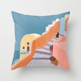 Santorini Pebble Stairs and Houses Throw Pillow