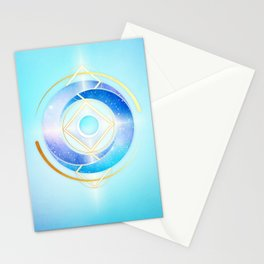 Icy Golden Winter Swirl :: Floating Geometry Stationery Cards