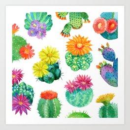 Watercolor cactuses Art Print