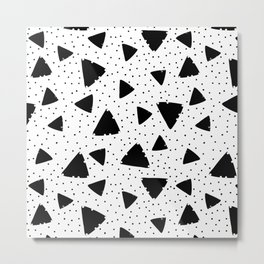 Modern black white hand painted polka dots triangles Metal Print