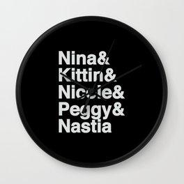 Female Djs  Queens.  Nicole, Nastia, Nina, Kittin and Peggy  - Designed for Techno lovers Wall Clock