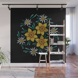 Embroidered Flowers on Black Circle 11 Wall Mural