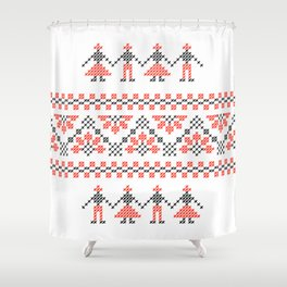Traditional Romanian red & black cross-stitch people motif on white Shower Curtain