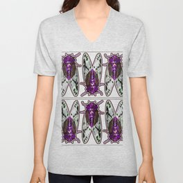 Purple Cicadas Unisex V-Neck
