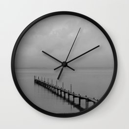 Misty Morning At The Lake Wall Clock
