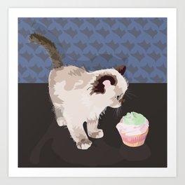 Kitten with a Cupcake Art Print