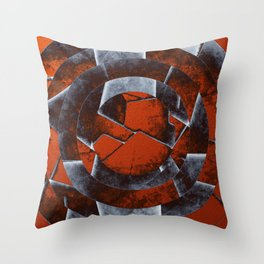 Concentric Rust - Abstract, geometric, tectured art in rustic brown, black and white Throw Pillow