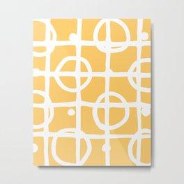 Yellow White Circle Squares Metal Print