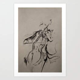 The Cellist (Sketch) Art Print