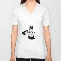 audrey V-neck T-shirts featuring Audrey by Clementine Petrova