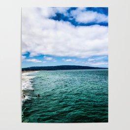 Blue Skies Ocean Waves Poster