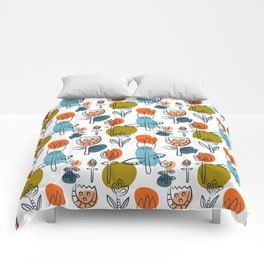 Pattern in Nordic Floral Style #6 Comforters