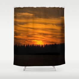 Cloudy Sunset With Forest Line - Scenic Landscape - #society6 #decor #buyart Shower Curtain