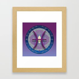 PISCES Flower of Life  Astrology Design Framed Art Print
