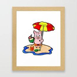 Beach Piggy Pig Piglet swimming trunks Holiday Framed Art Print