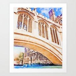 Bridge of Sighs Cambridge UK Art Print