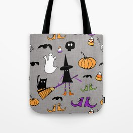 Cute #Halloween Witch and Friends Grey Tote Bag