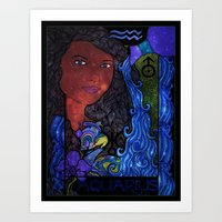 aquarius Art Prints featuring Aquarius by Laura Jean