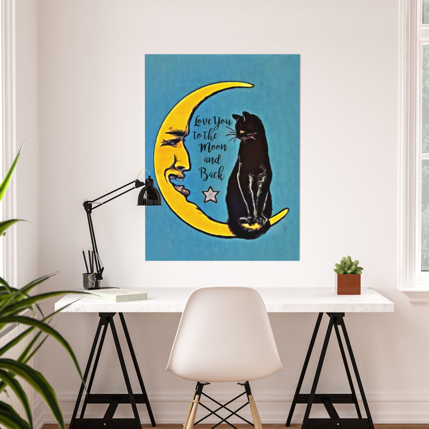 Black Cat And Moon I Love You To The Moon /& Back Wall Decor Poster No Frame